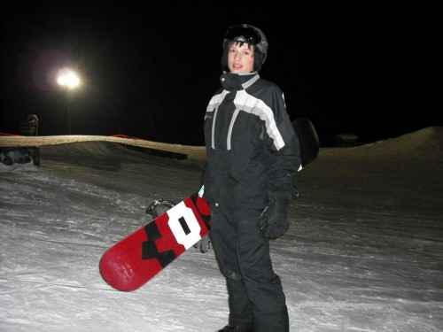 Snowboarding under the lights